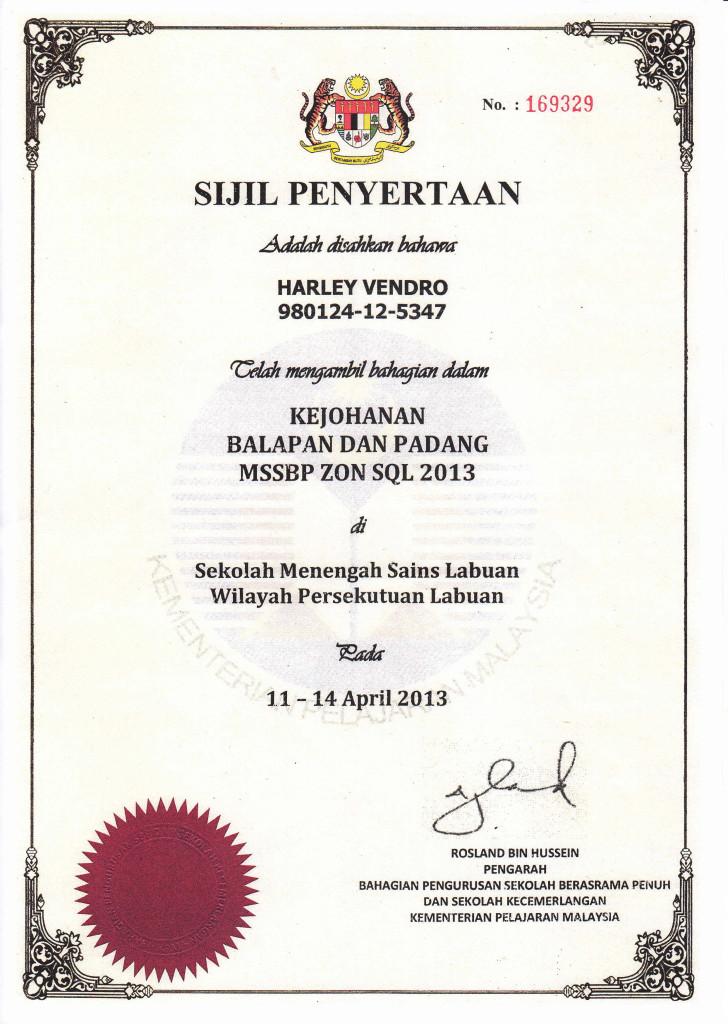 sijil larian harley 2