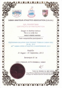 Athletic Participation Certificate