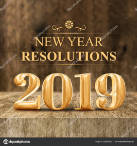 Gold shiny 2019 new year resolutions (3d rendering) at wooden block table and blur wood wall,Holiday greeting card,Mock up for display of your design or content for social media.